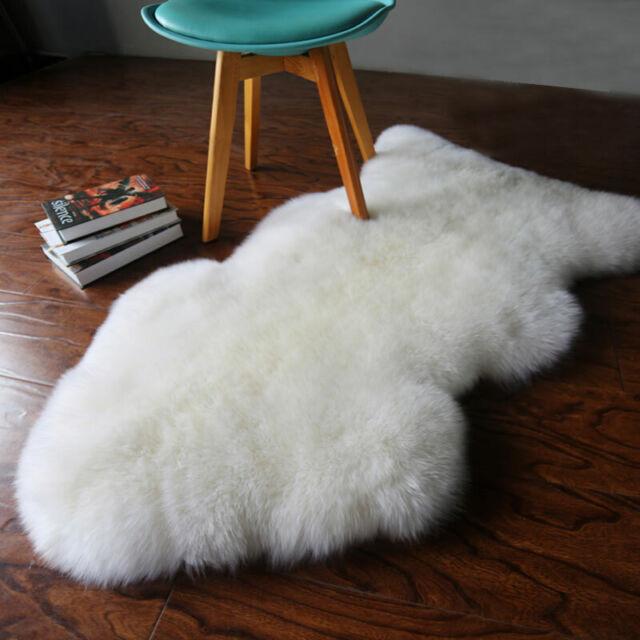 Real Australian Single One Pelt Sheepskin Ivory 2 X3 Rug Bedroom White Fur
