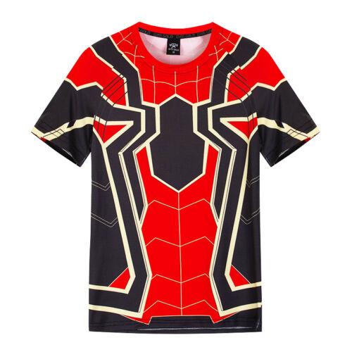 Men's Marvel Compression Armour Base Layer Top Superhero Spiderman  T-shirt