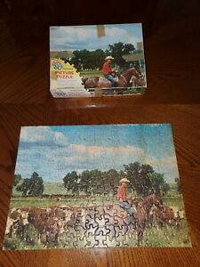 Vintage-Tuco-Jigsaw-Puzzle-Wide-Open-Spaces-Cowboy-Horse-Cattle-Cows-COMPLETE