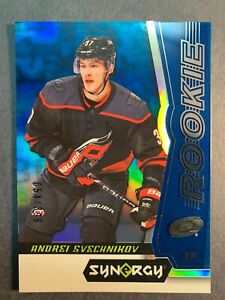 2018-19-Upper-Deck-Synergy-Blue-Parallel-Rookie-97-Andrei-Svechnikov-054-399-RC
