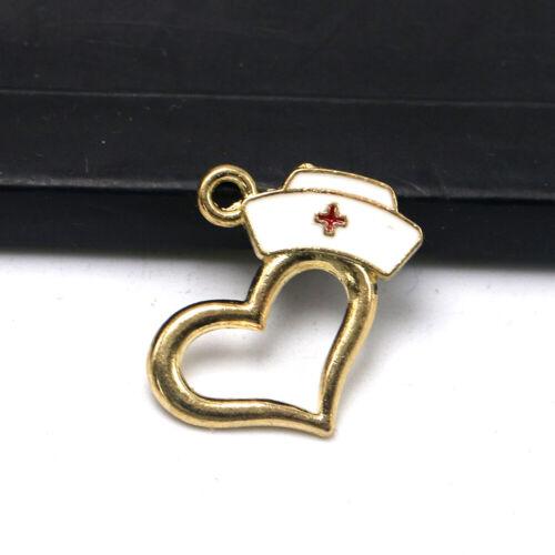 Wholesale 20//50pcs Nursing Graduation Gift Heart Nurse Cap Charm Jewelry Pendant