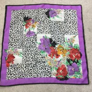 Liz Sinclair fashion scarf 30 x 30 square floral purple green shawl head cover