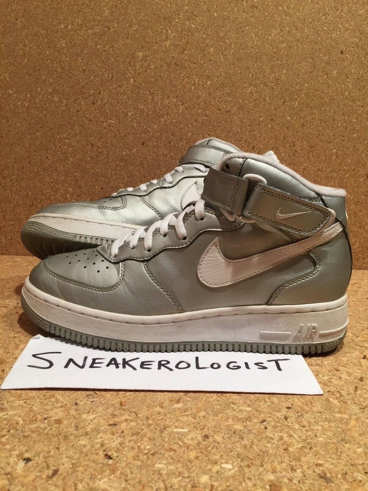 SAMPLE NIKE AIR FORCE 1 MID SC SZ 9 silver pearlized white 1997 vintage rare le