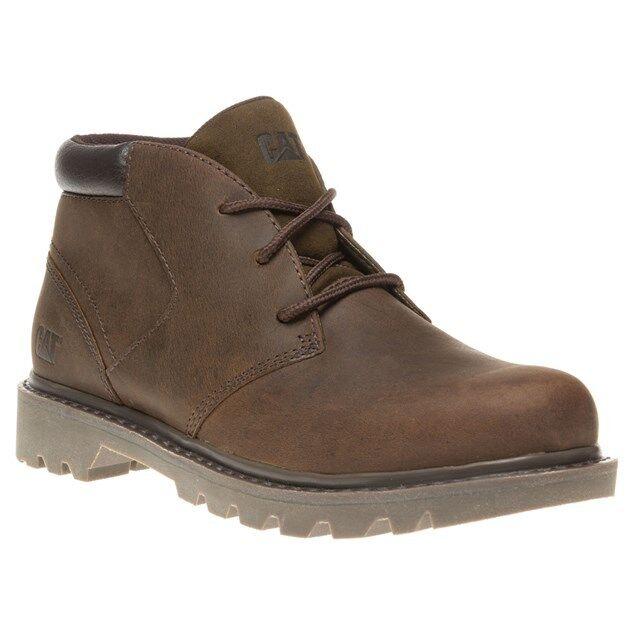 Mens Dark Brown Caterpillar Stout Leather Lace Up Chukka Boots Uk 10