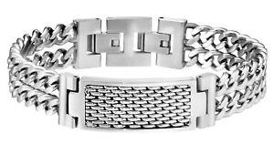 Police-Reflector-Men-039-s-Silver-Stainless-Steel-Bracelet-25554BSS-01