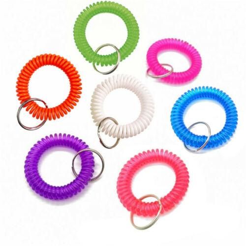 2 PCS Plastic Spiral Wrist Coil Keychain Spring Chain Holder Keyring Wristband