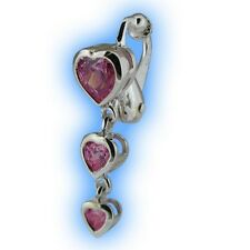 Pink Heart Trio Non Piercing Clipon Navel Jewelry Fake Belly Button Ring Dangly