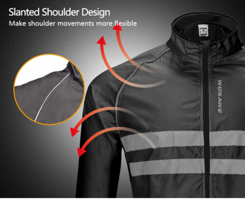 High Visibility Cycling Jackets Hooded Bike Jerseys Bicycle Vest Windproof Black