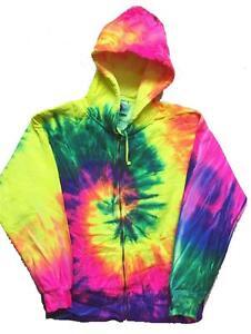 PINK YELLOW FLO SWIRL TIE DYED ADULT HOODIE sweat shirt tye dye mens womens