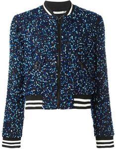 e655edd22 Alice + Olivia Lonnie Sequin Bomber Jacket Black Size M NWOT   eBay