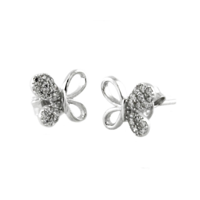 Sterling Silver 925 CZ Half-Paved Hollow Butterfly Stud Earrings