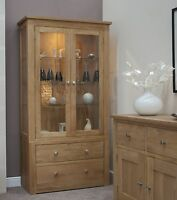Vermont solid oak furniture glazed display cabinet unit with light