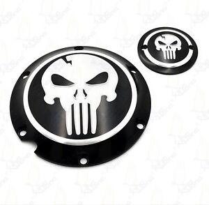 Skull-Derby-Timing-Timer-Cover-For-Harley-Davidson-Sportster-XL-883-1200-Black