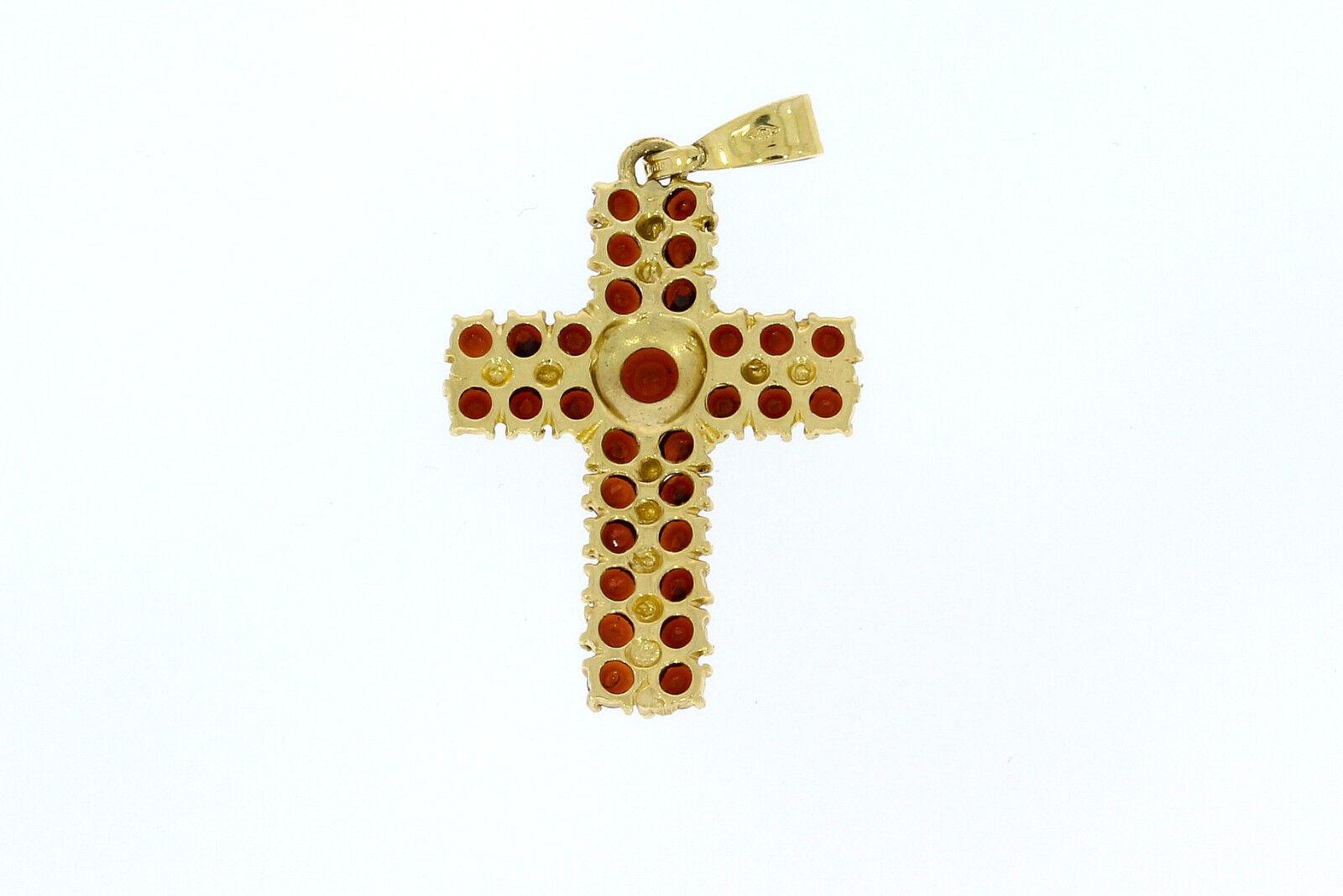 6295-585er giallo a a a croce con granata lungo 3 cm di larghezza 2 5 CM peso 3 3 grammi 197f33