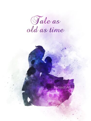 Tale as old as Time Love ART PRINT Beauty and the Beast Quote Disney Gift