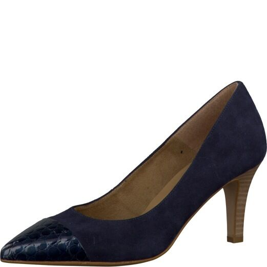Tamaris Womens 22412 Navy Croc Patent Leather And Suede Pointed Toe Court shoes