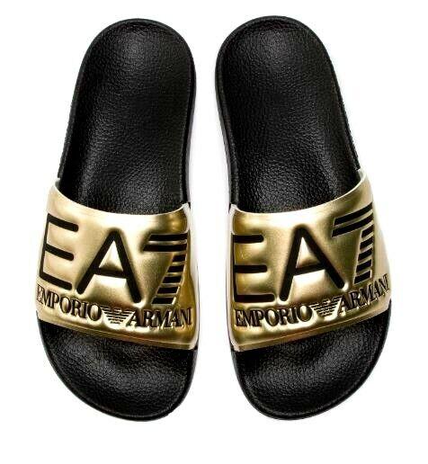Emporio Armani ,Unisex Bandsandalen, offene Sandalen, Gold mit schwarzem Logo