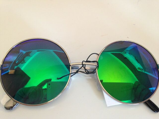 New Unisex Silver Frame With Mirrored Llenses John Lennon Type Round Sunglasses