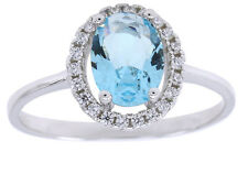 Aquamarine D/VVS1 Diamond 14K White Gold Halo Vintage Ring $999