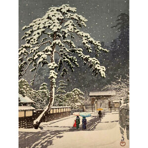 Hasui-Honmon-Temple-Japan-Snow-Painting-Canvas-Art-Print-Poster
