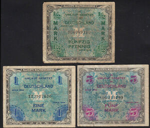 1944-Germany-1-2-1-5-Mark-Allied-Occupation-Lot-3-Old-Vintage-Money-WW2-Currency