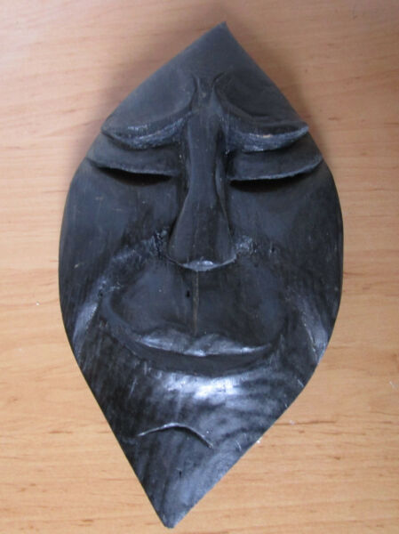 1 Holzmaske, Handgeschnitzt, Ca. 27 Cm Hoch
