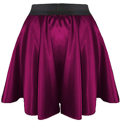 GREYWomen Lady Satin Shiny Mini Skirt Pleated Retro High Waist Club S~3XL