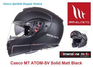 Casco-Modulare-Doppia-Visiera-MT-ATOM-SV-Solid-Black-Matt-Taglia-XL-61-62-cm