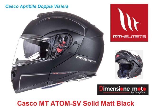 Casco Modulare Doppia Visiera MT ATOM-SV Solid Black Matt Taglia XL 61/62 cm
