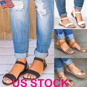 Fashion-Women-Leopard-Print-Buckle-Ankle-Strap-Sandals-Ladies-Casual-Flats-Shoes