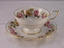 "Coalport ""Rosalinda"" teacup and saucer with pink and yellow roses"