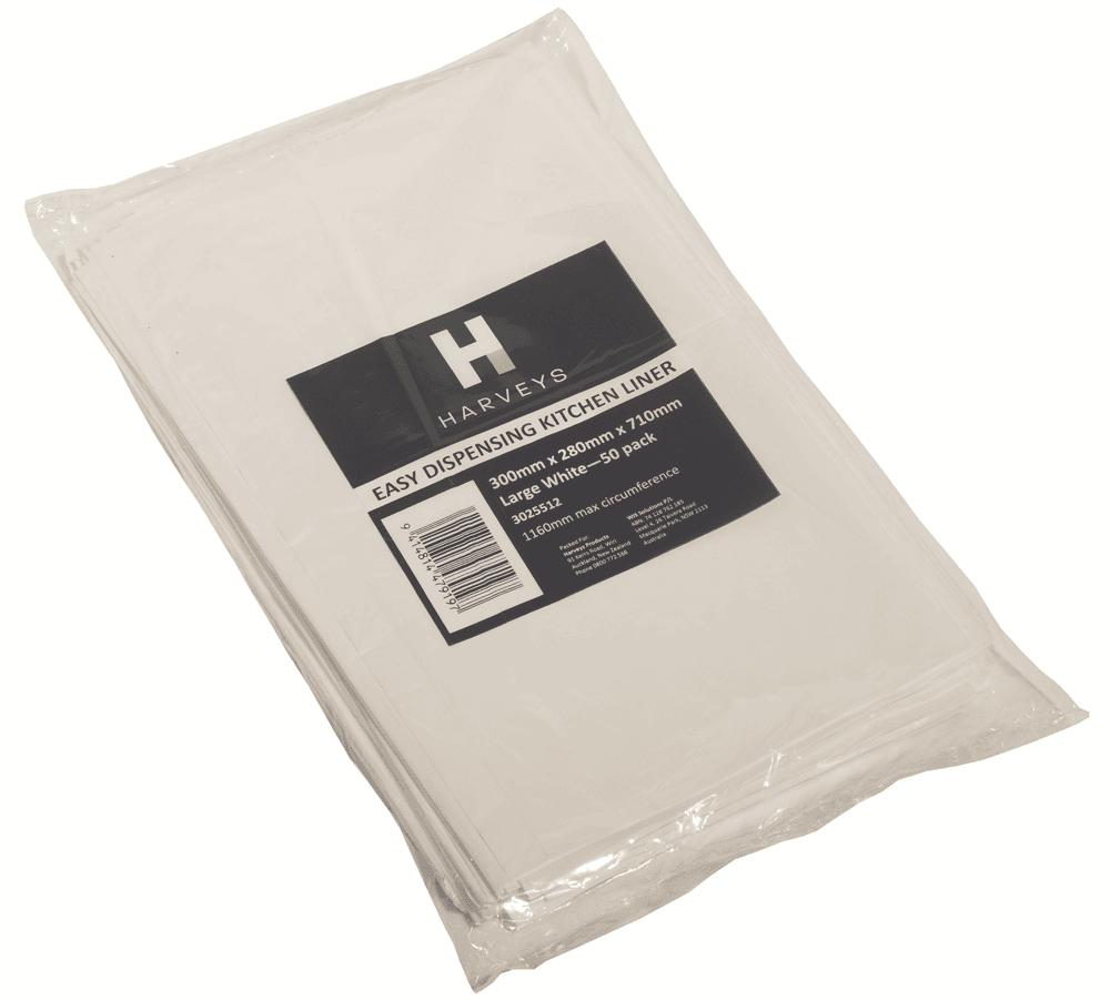Harveys KITCHEN BIN LINER 71x58cm 36L 50Pieces Leak Resistant Gusset Seal blanc
