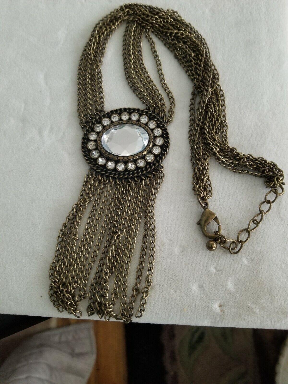 Multi Chain Large Rhinestone Necklace  - image 1