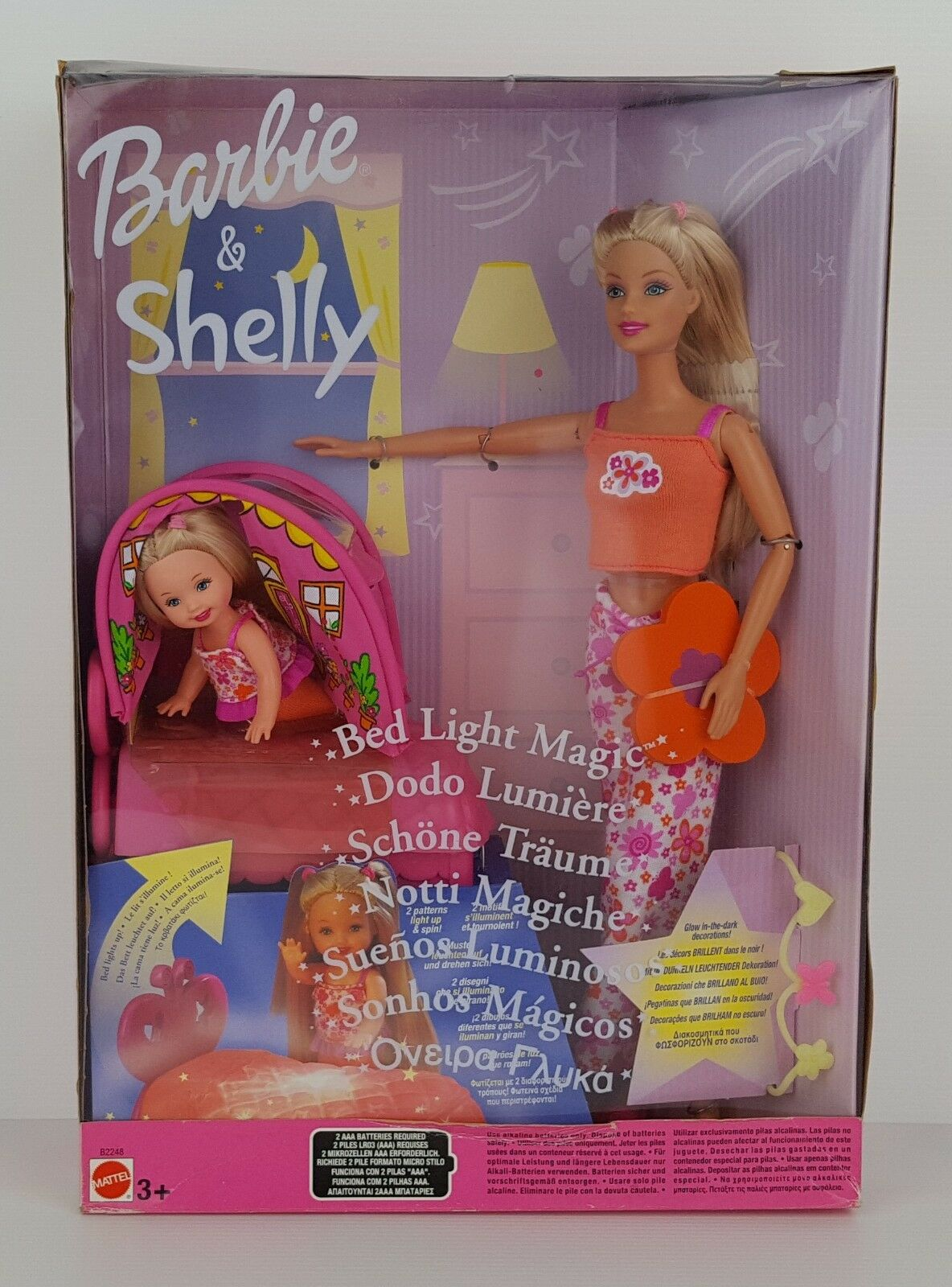 BARBIE & SHELLY BED LIGHT MAGIC NOTTI MAGICHE VINTAGE - NUOVO FACTORY SEALED