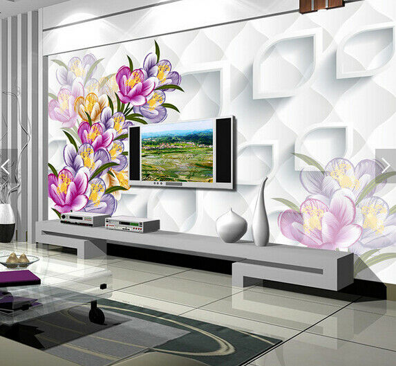 3D Paint Flowers 597 Wallpaper Murals Wall Print Wallpaper Mural AJ WALL AU Kyra