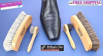 Shoe Shine Kit Bristle Hair Brush Dauber Applicator Buffing Cloth Shoe Polish LP