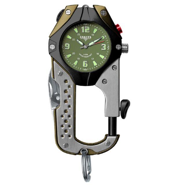 Dakota LED Microlight Knife Clip Watch Water Resistant, Army Green