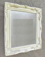 2 Schminkspiegel 39 x 33 cm Barock  Badezimmer Spiegel  Antik Weiß NEU