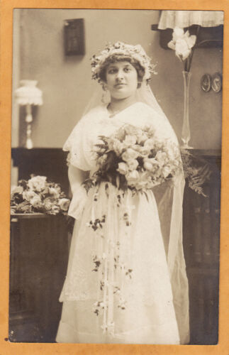 Real Photo Postcard RPPC Bride with Flowers Floral Bouquet