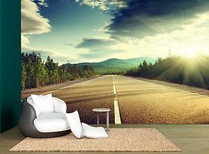 Image Is Loading Summer Forest Driving Road Asphalt Wall Mural Photo