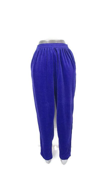 Vtg DIANE VON FURSTENBERG Purple Velour Pull on Pants The color Authority SZ L