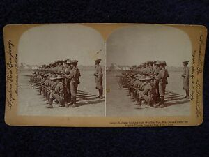 Rare-1900-CHINA-Stereoview-TIENTSIN-Chinese-Soldiers-WEI-HAI-WEI-Boxer-Rebellion