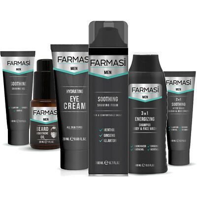 Farmasi Men Pre And Aftershave Care Shampoo Beard Oil Eye Cream