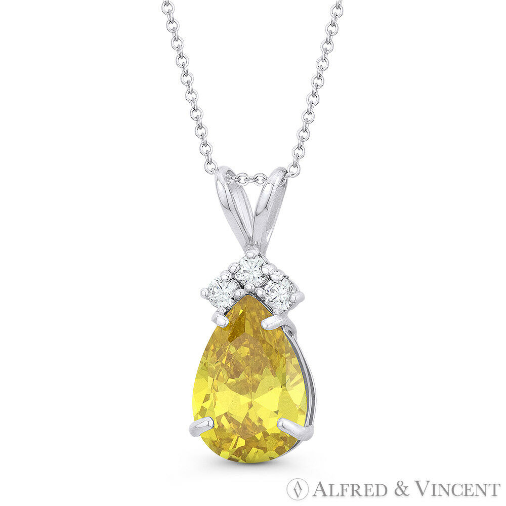 Faux Citrine Yellow Pear-Shaped & Round CZ Crystal 14k White gold 18x7mm Pendant