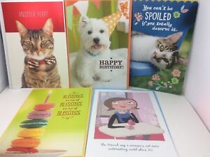 Image Is Loading 5 Hallmark Happy Birthday Greeting Cards Cats Dog