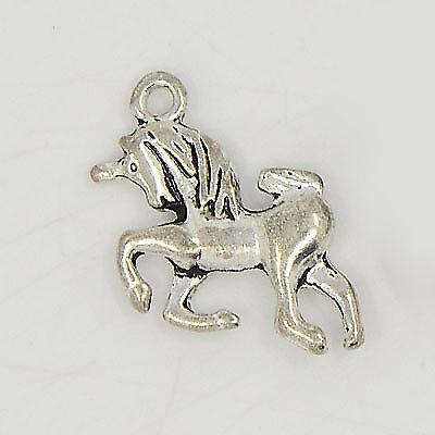 5 x Alloy Charms Pendants Unicorn Horse Pony Silver colour