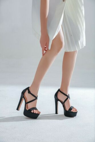 Details about  /Womens Multi-colors Cross Strap High Block Heels Platform Roman Sandals Shoes
