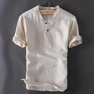 Men-039-s-Pullover-Linen-Short-Sleeves-Shirts-Solid-Cotton-Shirts-Asian-Sizes-TS150