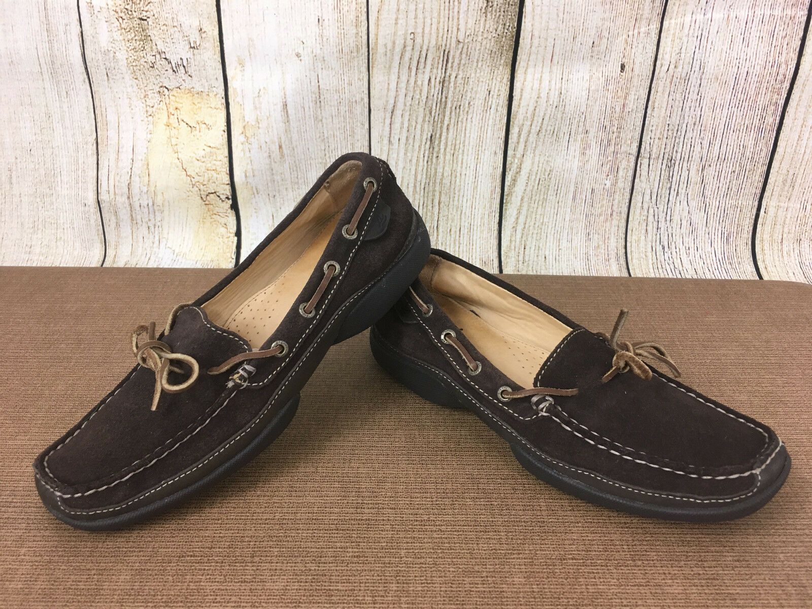 Womens 7 M Sperry Top-Sider Brown Suede Leather Loafer Drivers shoes       G40(5