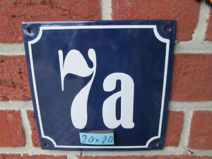 Hausnummer Emaille  Nr 7a weisse Zahl auf blauem Hintergrund Mega 20 cm x 20 cm